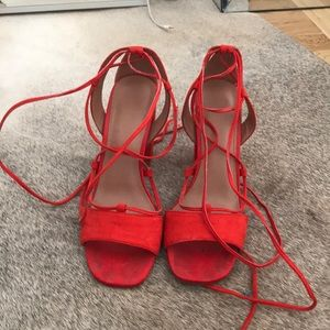 TOPSHOP Red Lace-Up Sandal
